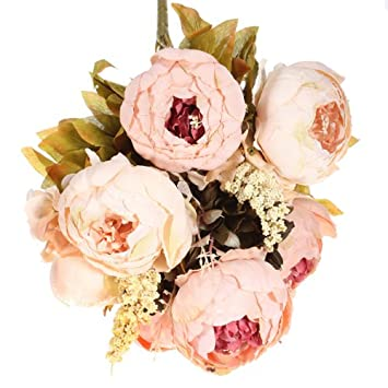 Kingso Artificial Peony Silk Flowers Bouquet Home Wedding Decoration
