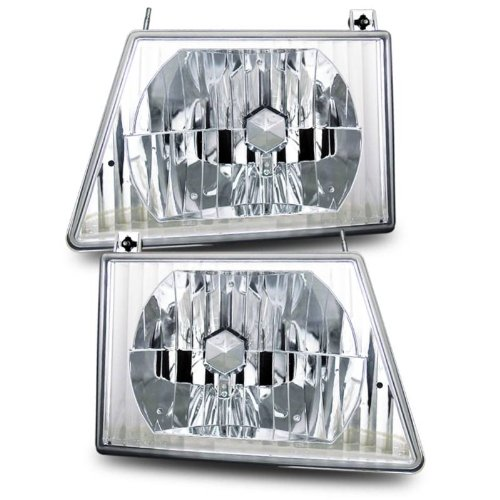 SPPC Crystal Headlights Assembly Set For Ford Econoline Van - (Pair) Driver Left and Passenger Right Side Replacement