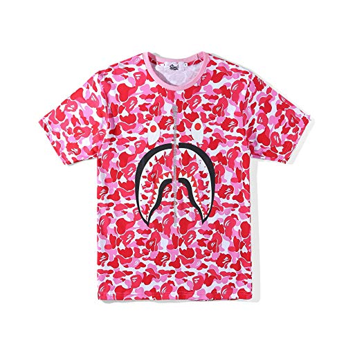Boys Casual Fashion Crewneck T Shirt Hip hop Style Camo Tees Unisex Pullover Tops Shark Mouth (Pink, XL)