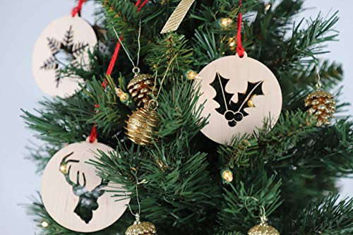 Wooden Christmas Cutout Ornaments (Set of 5)