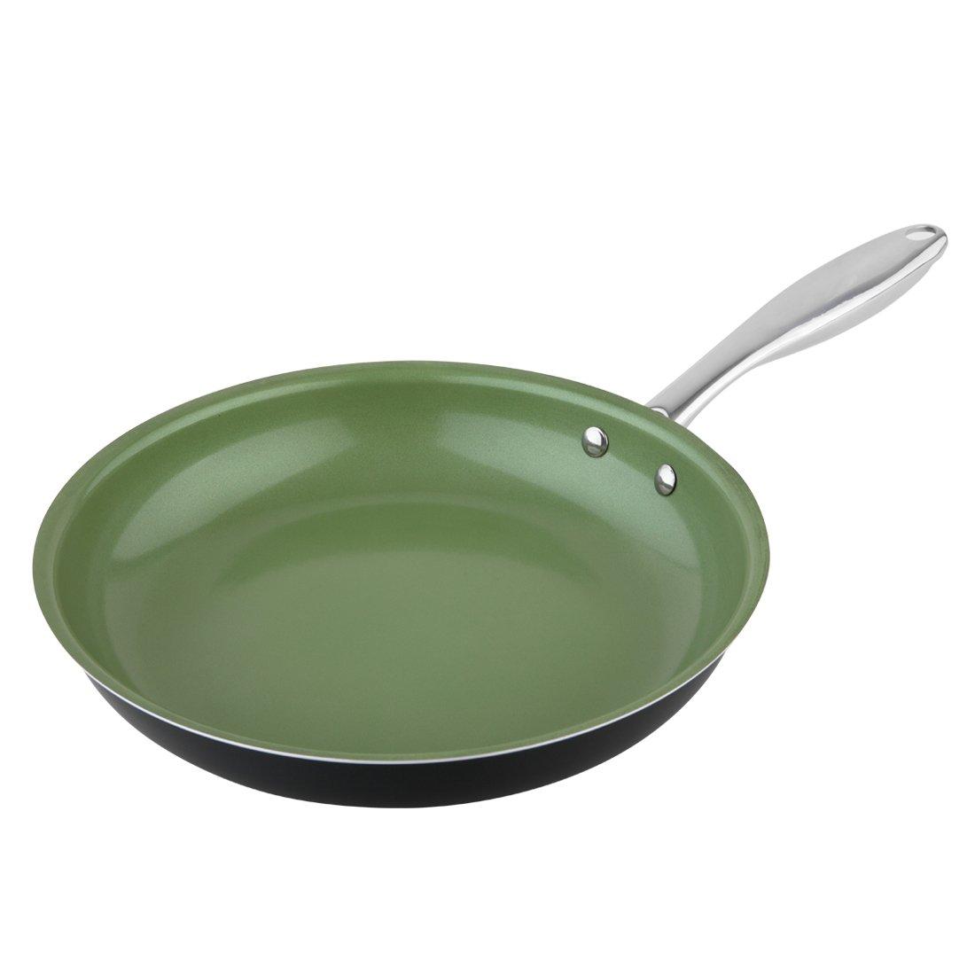 MICHELANGELO Premium Green Frying Pan Ceramic Nonstick With Stainless Steel Handle German Technology, Green Frying Pan Nonstick, Stir Fry Pan Green Ceramic Skillet, Green Pan Skillet Nonstick 11 Inch