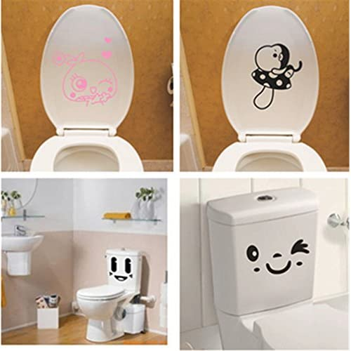 Blanche Lynn Lovely Mushroom & Two Different Smiles DIY Art Decor Toilet Decal / Bathroom Sticker , Pack of 4 cheap