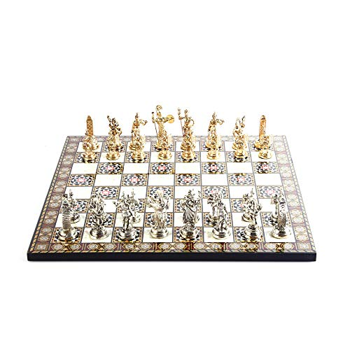 (Historical Roman Figures Metal Chess Set for Adult and Kids, Handmade Cool Pieces and Mother-of-Pearl Patterned Wood Chessboard King 2.8 inc)