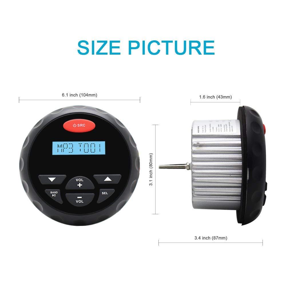 40W avec support de montage Bluetooth /étanche Marine St/ér/éo Portable Radio AM FM R/écepteur radio Affichage de lhorloge 12V USB Mp3 Player Aux RCA Syst/ème sonore audio Sortie 4