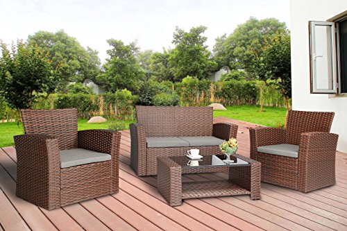 Baner Garden (N87-BR) 4 Pieces Conversational Outdoor Furniture Complete Patio Cushion Wicker Rattan Garden Set, Brown (Wicker Kitchen Furniture)