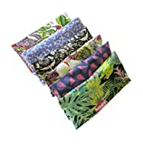 Peacegoods Aromatherapy Eye Pillow - Bundle of (6) - 4.5 x 9 - Organic Lavender Chamomile Flax Cotton - Removable Cover Washable - green black pink purple bird butterfly flowers leaves