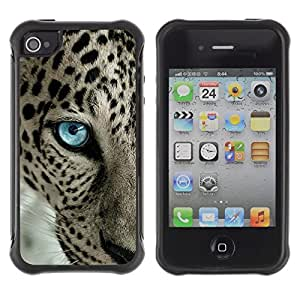 Fuerte Suave TPU GEL Caso Carcasa de Protección Funda para Apple Iphone 4 / 4S / Business Style Leopard Pattern Blue Eye Intense Animal
