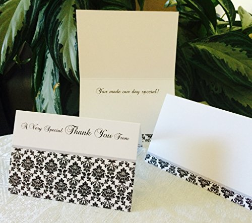 50 DAMASK THEMED THANK YOU CARDS 4