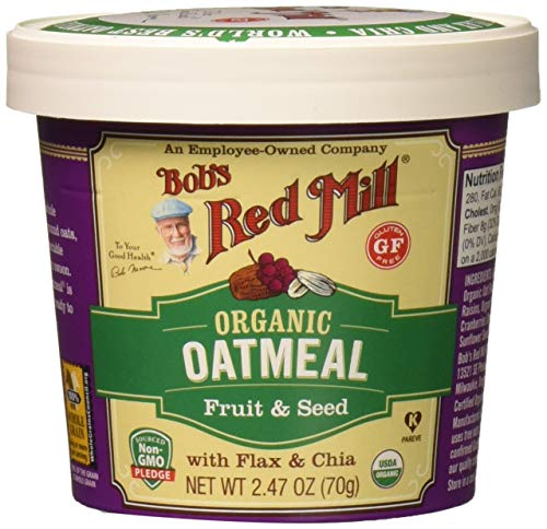 Bob's Red Mill Organic Gluten Free Oatmeal Cup Fruit & Seed, 2.47 Ounce, 12 Count