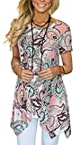 Moskill Summer Tunic Tops for Women Floral Short Sleeve Tshirt Loose Fit(XL,Pink)