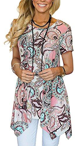 Moskill Womens Tunic Tops Summer Short Sleeve Floral Print Irregular Hem Asymmetrical Loose Fit T Shirt (Large, ()