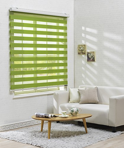 Custom Cut to Size , [Winsharp Basic , green , W 39 x H 47 (Inch)] Horizontal Window Shade Blind Zebra Dual Roller Blinds & Treatments , Maximum 91 Inch Wide by 103 Inch Long (Roller Blinds On Patio Doors)