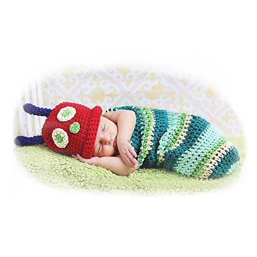 Fashion Newborn Caterpillar Boy Girl Baby Costume Outfits Photography Props Outfits Pan Set]()
