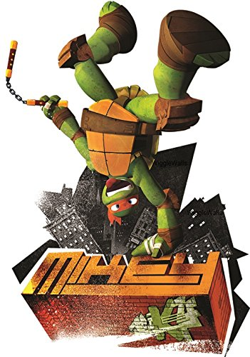 4 Inch Michelangelo Nunchucks Mikey Mike Orange Chucks Turtle TMNT Teenage Mutant Ninja Turtles Movie Removable Peel Self Stick Wall Decal Sticker Art Kids Room Home Decor 3 by 4 1/2 inches -
