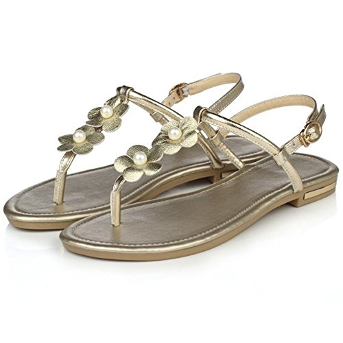 COOLCEPT Mujer Moda Correa de Tobillo Sandalias Talon Abierto Plano Zapatos con Flor Oro