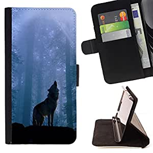 - Wolf Moring - - Style PU Leather Case Wallet Flip Stand Flap Closure Cover FOR HTC One M8 - Devil Case -