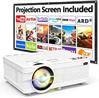 QKK AK-81 Projector With Projection Screen, 6500 Lumens Mini Projector 1080P Full HD Supported, HD Video Projector...