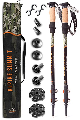 trekking poles Premium Ultralight w/Cork Grips - Your collapsible Hiking/Walking Sticks come with Tungsten Tips and Flip Locks - Enjoy the - Alpine Poles