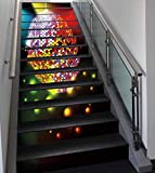 Stair Stickers Wall Stickers,13 PCS Self-adhesive,Popstar Party,Vibrant Colorful Disco Ball Nightclub Celebration Party Dance and Music Print Decorative,Multicolor,Stair Riser Decal for Living Room, H