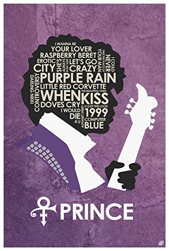 "Prince Lyrics Word Art Print Poster (12"" x 18"") by Artist Stephen Poon."