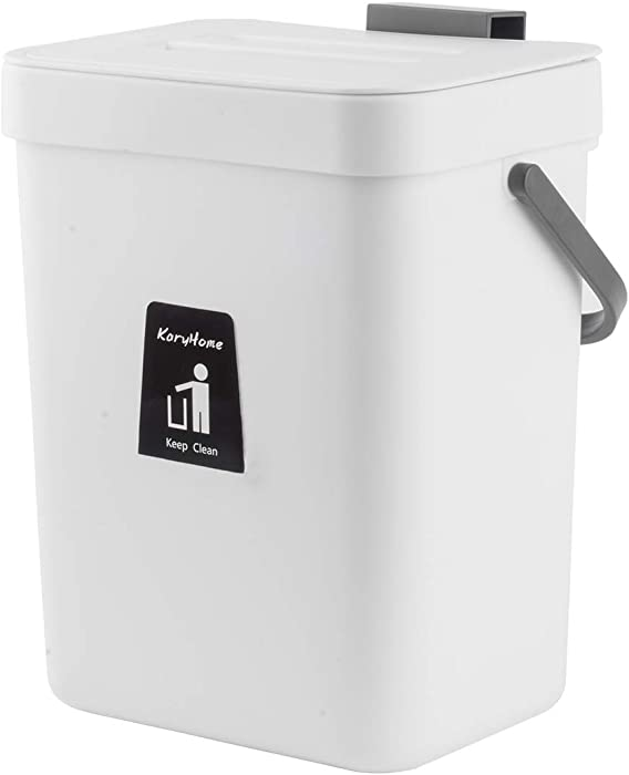 KaryHome Kitchen Compost Bin for Counter Top, Hanging Small Trash Can with Lid Under Sink for Kitchen Bathroom,Mountable Compost Bucket, White
