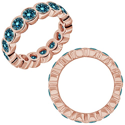 2.75 Carat Blue Diamond Bubbles Bezel Full Eternity Wedding Band Bridal Ring (2.75 Ct Heart Diamond)