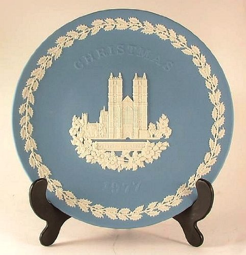 Wedgwood blue jasper ware Christmas plate for 1977 - Westminster Abbey CP1061