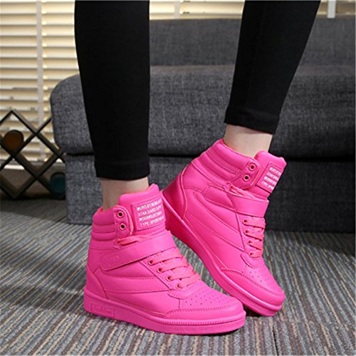 Wedges Botas Alta Rosa UBFEN Rosa Mujer 7cm Blanco Zapatos de Interior Elevador para Negro Sneakers Cuña Deportivos Zapatillas Botines Talón Plataforma anBaW