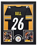 LeVeon Bell Autographed/Signed Pittsburgh Steelers Black Framed Custom Jersey - Circle Decal