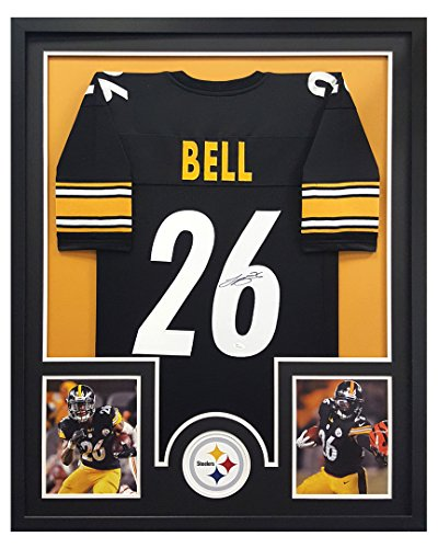 Signed Framed Steelers Jersey (LeVeon Bell Autographed/Signed Pittsburgh Steelers Black Framed Custom Jersey - Circle Decal)
