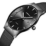 CRRJU Men Business Slim Analog Quartz Watch,Date Black Dial Wrist Watch with Mesh Bracelet Strap