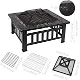FIXKIT Outdoor Fire Pit Table with Grill, Metal