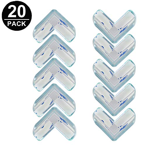 Clear Corner Protectors,20 Pack Baby Proofing Corner Guards,Safe Corner Cushion,Baby Proof Edges Corner Bumpers for Tables, Furniture with 3M Adhesive (L-Shaped) from Mopoin