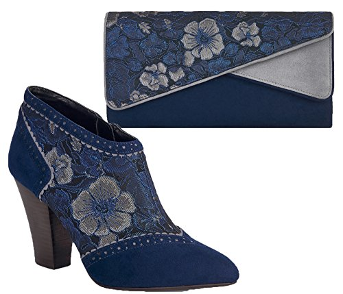 Ruby Shoo Blue/Wine Faux Suede Nicola Ankle Boots & Matching Sydney Bag Blue