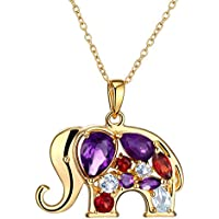 Finecraft 18K Gold Flashed & SS-Plated Brass Elephant Pendant