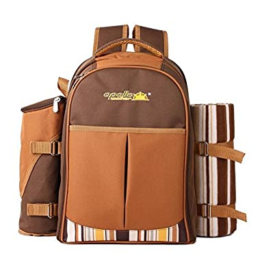 APOLLO WALKER Picnic Backpack for 4 with Cooler Compartment, Coffee