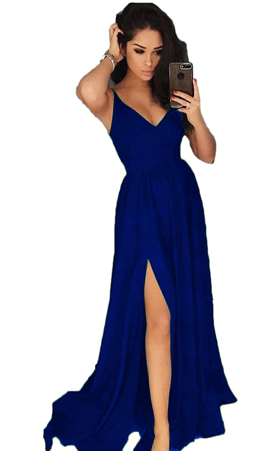Royal bluee YMSHA Women's Long V Neck Prom Dresses with Split Satin Formal Party Gown 43PM