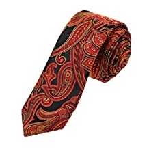 EAEB0130 Red Gold Black Paisley Microfiber Thin Ties Exporters For Working Day Skinny Tie By Epoint