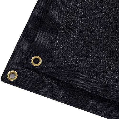 DIR 90% UV Black or Green Shade Cloth Premium Mesh Shade Sunblock Shade Panel with Grommets (20ft x 30ft, Black) (30' Black Mesh)