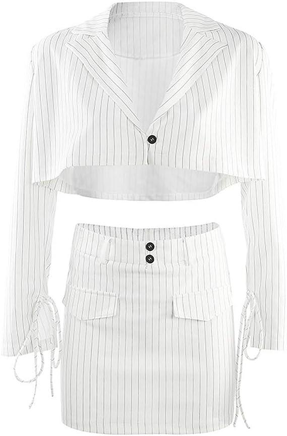 2 Piezas Conjunto Mujer - Mini Falda y Manga Larga Blazer Top Moda ...