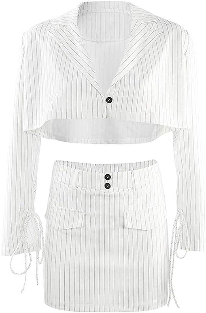 2 Piezas Conjunto Mujer - Mini Falda y Manga Larga Blazer Top ...