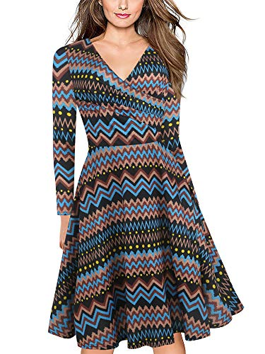 oxiuly Women's Chic Wave Print V-Neck Full Sleeve Party Cocktail Tea Casual Swing Dress OX233 (XL, Blue Wave 9) -