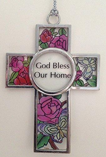 God Bless Our Home Cross Glass Suncatcher Ornament (EA6002)