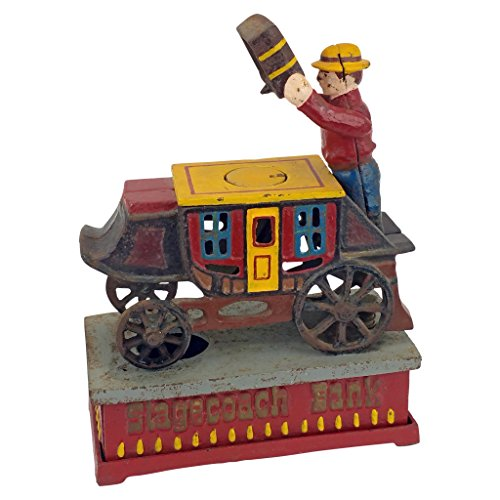 coach Strongbox Die Cast Iron Mechanical Coin Bank (Old West Strong Box)