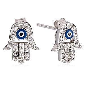 AK Jewels Women's Silver Fatima Hand Evil Eye Earrings