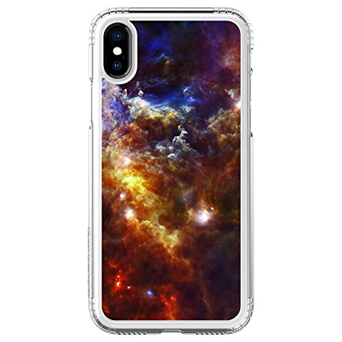 - DistinctInk SaharaCase for iPhone X/XS (NOT Max) - Clear Shockproof Custom Case - Protective Kit & ZeroDamage Screen Protector - Red Yellow Blue Rosette Nebula - Show Your Love of Astronomy