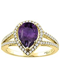 14K Gold Natural Amethyst Ring Pear Shape 9x7 mm Diamond Accents, sizes 5 - 10