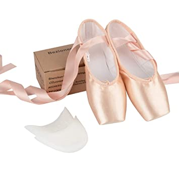 Bezioner Womens Ballet Dance Shoes Pink Satin Ballet Pointe Shoes Ballet  Slippers Shoes with Ribbons and ee832c35a749