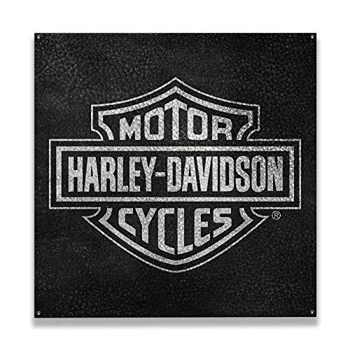 OldWoodSigns Wooden Harley-Davidson Bar and Shield Logo on Black Background