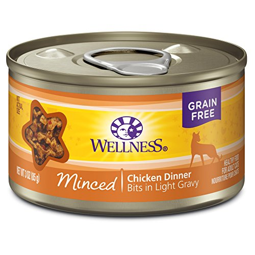 Wellness Natural Grain Free Wet Canned Cat Food Minced Chicken Dinner, 3-Ounce Can (Pack of 24)